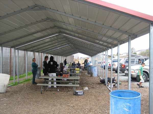 Covered Staging area at TAG Paintball in Hollister, California
