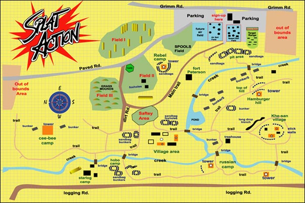 Splat Action Paintball Field Map in Molalla Oregon