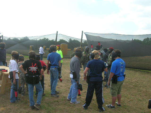 Group near airball course at Splatterhouse Paintball Field